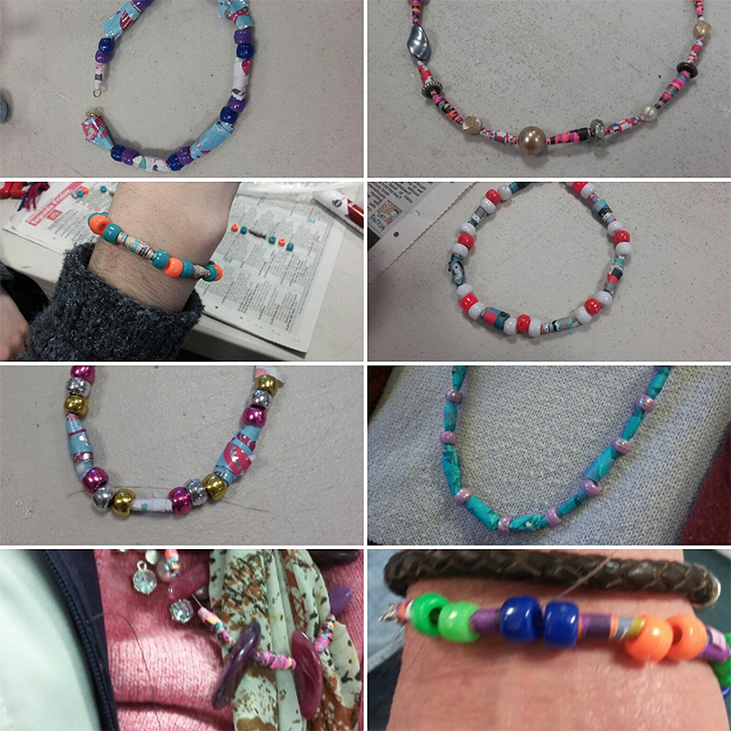 Paper beads jewellery made by my students