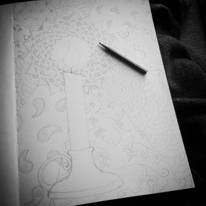 Yuletide candle drawing in progress